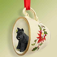 Schnauzer Black Tea Cup Red Holiday Ornament