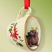 Dachshund Red Red Holiday Tea Cup Ornament