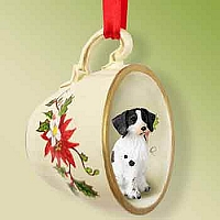 Brittany Liver & White Spaniel Red Holiday Tea Cup Ornament