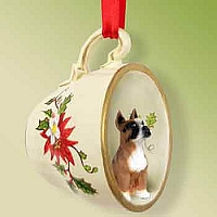 Boxer Tea Cup Red Holiday Ornament