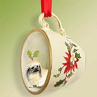 Pekingese Tea Cup Red Holiday Ornament