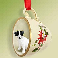 Jack Russell Terrier Black & White w/Rough Coat Red Holiday Tea Cup Ornament