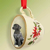 German Short Haired Pointer Red Holiday Tea Cup Ornament