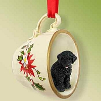Portuguese Water Dog Tea Cup Red Holiday Ornament