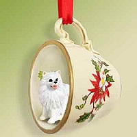 American Eskimo Miniature Tea Cup Red Holiday Ornament