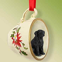 Flat Coated Retriever Tea Cup Red Holiday Ornament