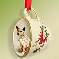 Australian Cattle Red Dog Red Holiday Tea Cup Ornament