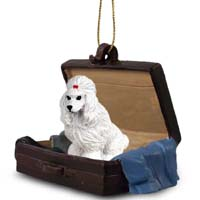 Poodle White Traveling Companion Ornament