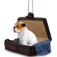 Bulldog White Traveling Companion Ornament