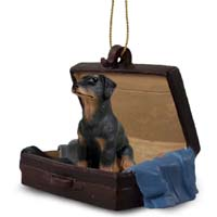Doberman Pinscher Black w/Uncropped Ears Traveling Companion Ornament