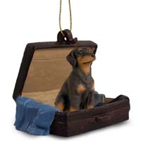 Doberman Pinscher Red w/Uncropped Ears Traveling Companion Ornament