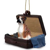 Boxer Brindle w/Uncropped Ears Traveling Companion Ornament