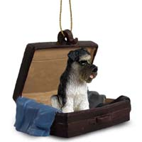 Schnauzer Gray w/Uncropped Ears Traveling Companion Ornament