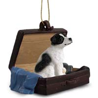 Jack Russell Terrier Black & White w/Smooth Coat Traveling Companion Ornament