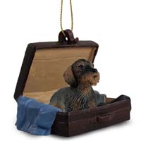 Wire Haired Dachshund Red Traveling Companion Ornament