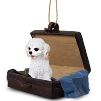 Cockapoo White Traveling Companion Ornament