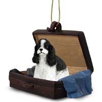 Cocker Spaniel Black & White Traveling Companion Ornament