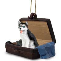 Husky Black & White w/Blue Eyes Traveling Companion Ornament