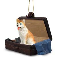 Husky Red & White w/Blue Eyes Traveling Companion Ornament