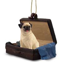 Pug Fawn Traveling Companion Ornament