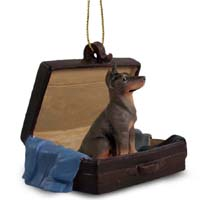 Doberman Pinscher Red w/Cropped Traveling Companion Ornament