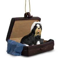 Shih Tzu Black & White Traveling Companion Ornament
