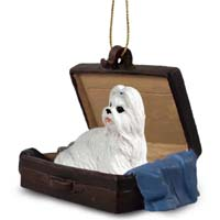 Shih Tzu White Traveling Companion Ornament