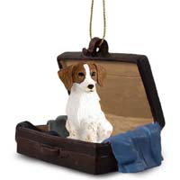 Brittany Brown & White Spaniel Traveling Companion Ornament