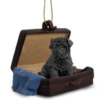 Shar Pei Black Traveling Companion Ornament