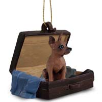 Miniature Pinscher Red & Brown Traveling Companion Ornament