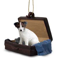 Jack Russell Terrier Brown & White w/Rough Coat Traveling Companion Ornament
