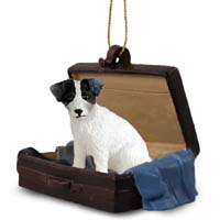 Jack Russell Terrier Black & White w/Rough Coat Traveling Companion Ornament