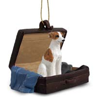 Whippet Brindle & White Traveling Companion Ornament