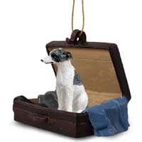 Whippet Gray & White Traveling Companion Ornament