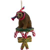 Bear Brown Candy Cane Ornament
