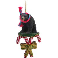 Bear Black Candy Cane Ornament