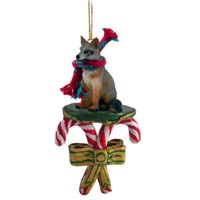 Fox Gray Candy Cane Ornament