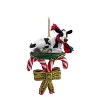 Holstein Cow Candy Cane Ornament