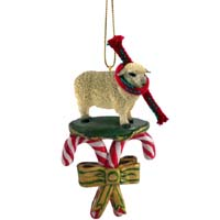 Sheep White Candy Cane Ornament
