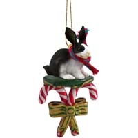 Rabbit Black & White Candy Cane Ornament