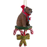Bear Grizzly Candy Cane Ornament