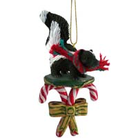 Skunk Candy Cane Ornament