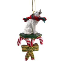 Wolf White Candy Cane Ornament