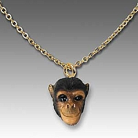 Chimpanzee Tiny One Head Pendant