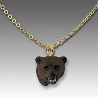 Bear Grizzly Tiny One Head Pendant