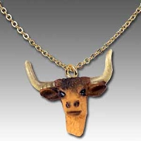 Long Horn Steer Tiny One Head Pendant