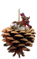 Guernsey Bull Pinecone Pet Ornament