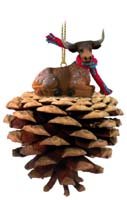 Long Horn Steer Pinecone Pet Ornament