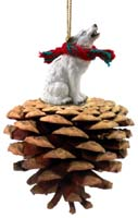 Wolf White Pinecone Pet Ornament