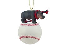 Hippopotamus Baseball Ornament